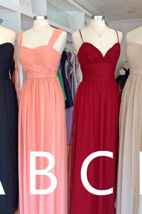 mixed style bridesmaid dress,chiffon bridesmaid dresses,long bridesmaid dresses,