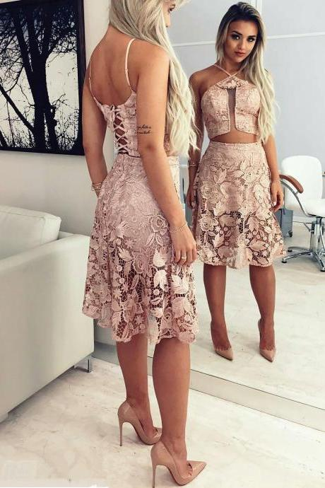 Lace Homecoming Dresses,Cheap homecoming dresses 2017,Two Pieces Homecoming Dress,