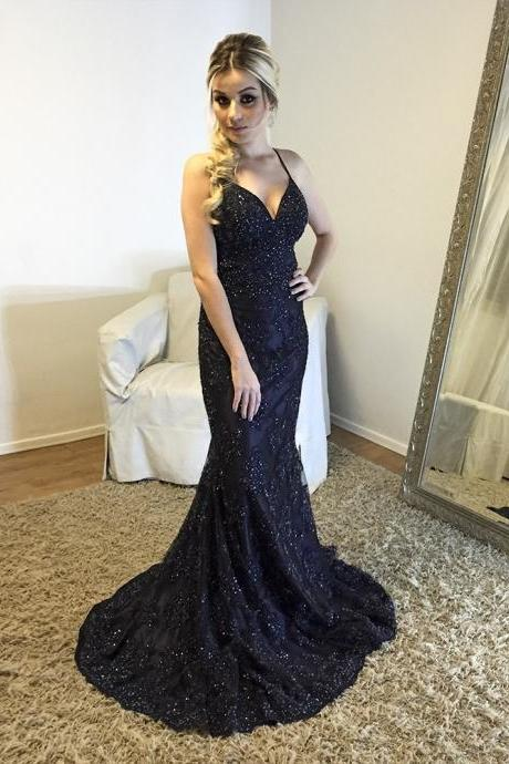 Cheap prom dresses 2017,Backless V neck Mermaid Evening Dress with Beaded Lace Appliques,