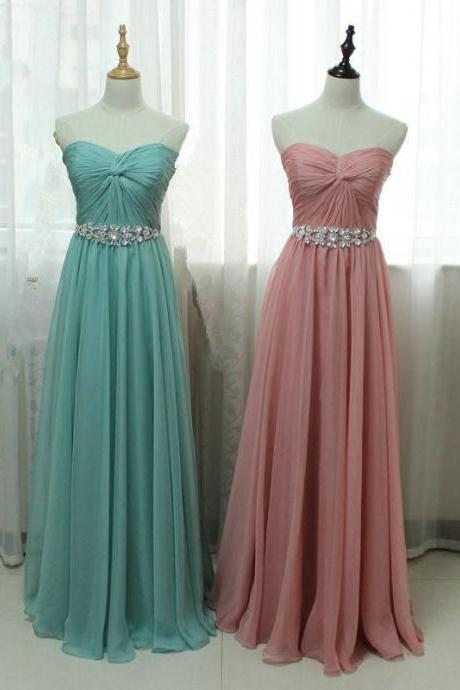 Real Photo Bridesmaid Dresses Long Detachable Crystals Belt robe