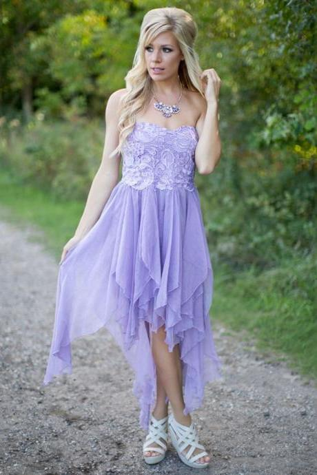 Lilac Sweetheart Lace Appliques Bridesmaid Dress,