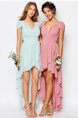 Cheap Pleated Chiffon High Low Bridesmaid Prom Dresses 2017