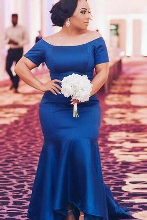 Chic Royal Blue Bridesmaid Dresses Hi Low Mermaid Off The Shoulder