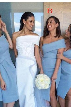 Unique Beach Bridesmaid Dresses Sleeves Backless Knee Length