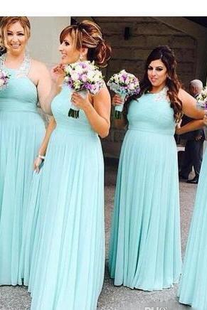 Mint Green Halter Neck Chiffon Bridesmaid Dresses Long Prom Dress