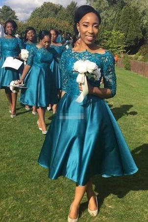 Short Bridesmaid Dresses 2017 New Cheap For Weddings Teal Satin Lace