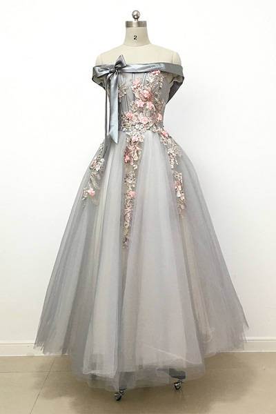 Light Grey Bridesmaid Dresses,Tulle Bridesmaid Dress,Off Shoulder Prom Dress,