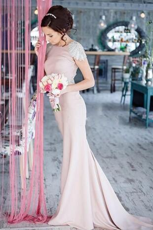 Pink Beading Long Bridesmaid Dresses Cap Sleeve Sexy Backless