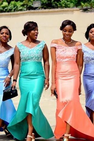 Cheap Mermaid Bridesmaid Dresses Hi-lo Maid Of Honor Dresses