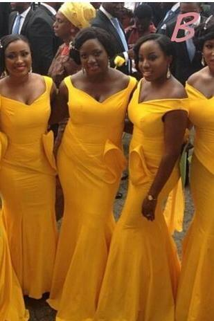 Plus Size Bright Yellow Maid Of Honor Dresses 2017