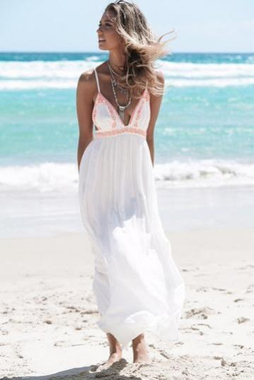 Spaghetti Strap Back Cross Print Beach Long Dress