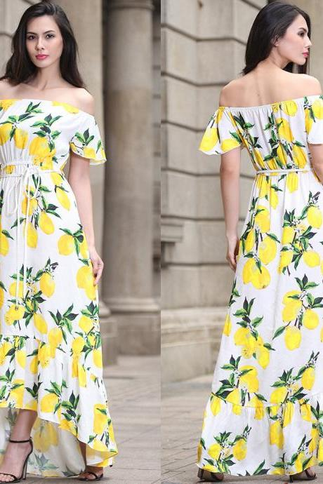 Casual Lemon Pattern Sleeveless Maxi Long Dress