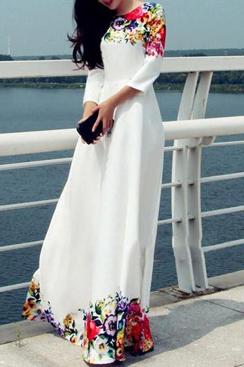 Gorgeous Floral Print White Maxi Dress
