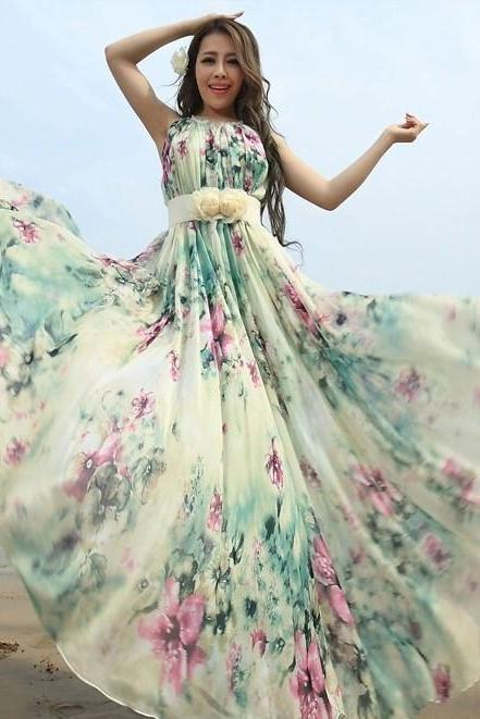 Summer Floral Long Beach Maxi Dress