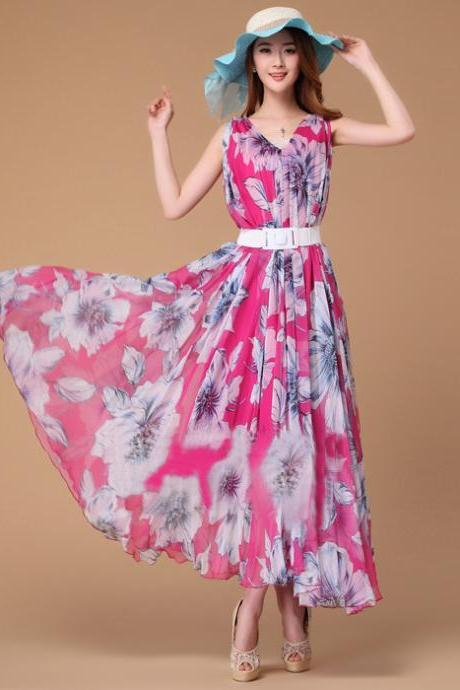 Summer Lily Floral Long Beach Maxi Dress