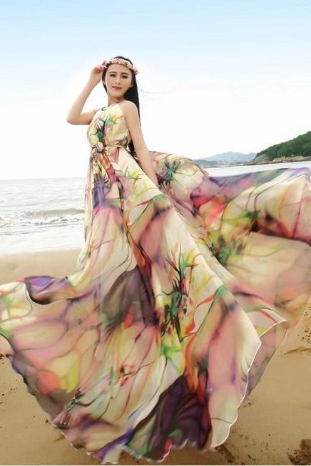 Boho Floral Long Beach Maxi Dress