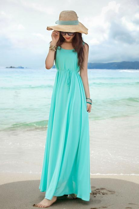 Azure Sleeveless Round Neck Maxi Dress
