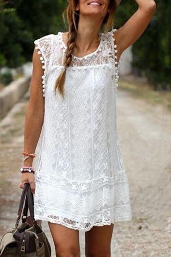 Cute White Round Neck Cap Sleeve Lace Shift Dress