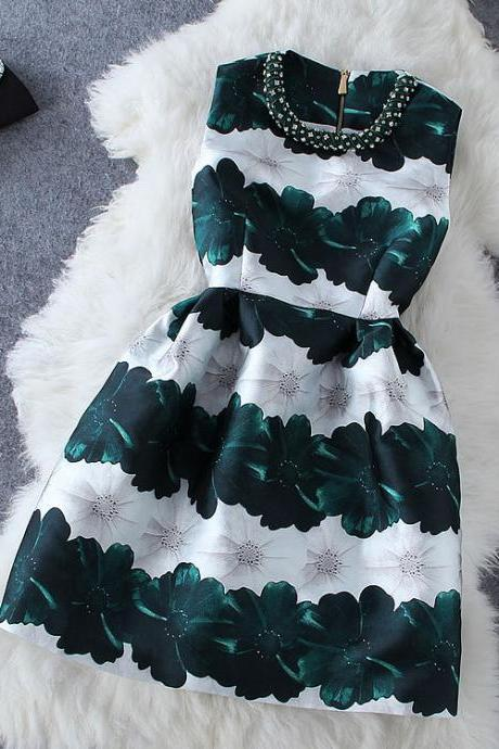 Fashion bead flowers sleeveless dress