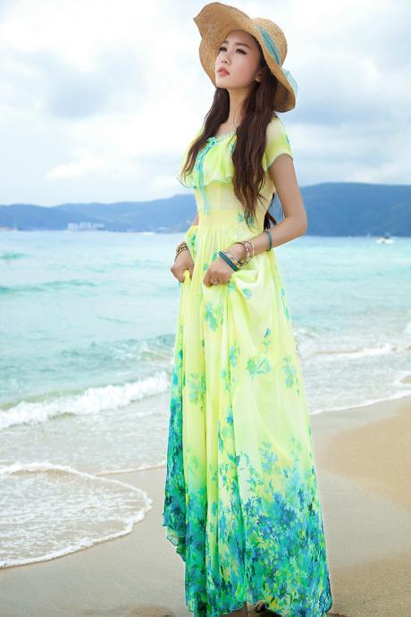 New Women Sleeveless Floral Summer Boho Beach Long Maxi Evening Party Dress