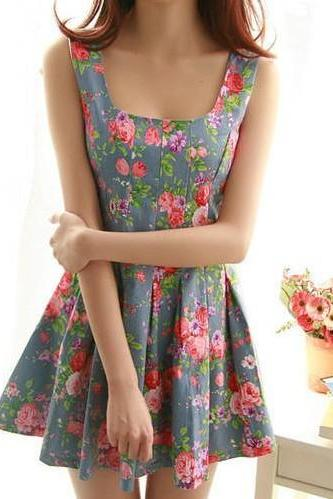 Floral Denim Princess Dress