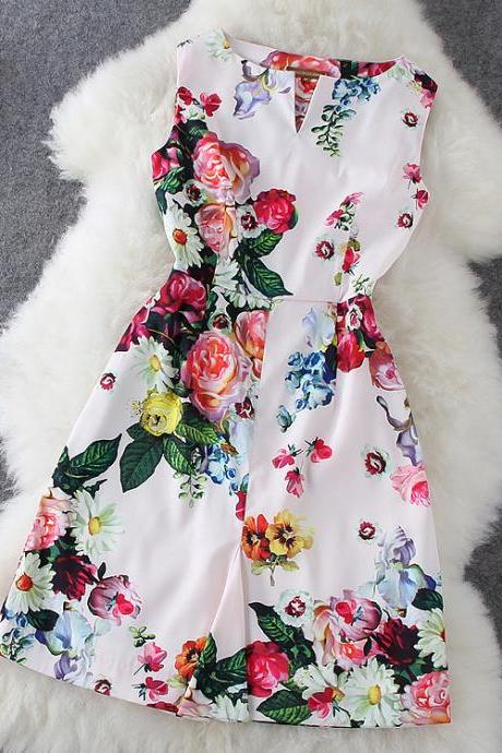 Rose Printed Sleeveless Dress
