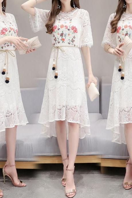 summer new short sleeve lace a line dress