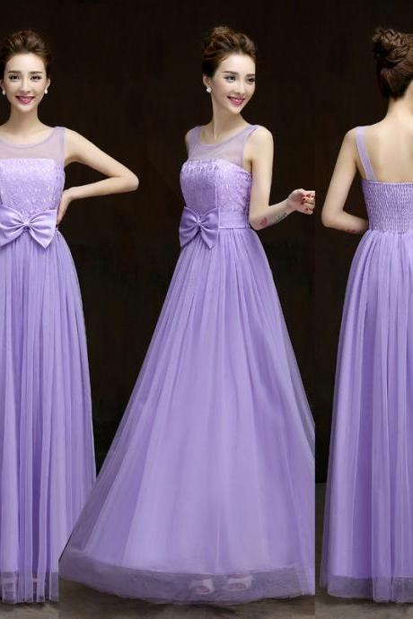 New Designer Bow Purple Sleeveless Dress
