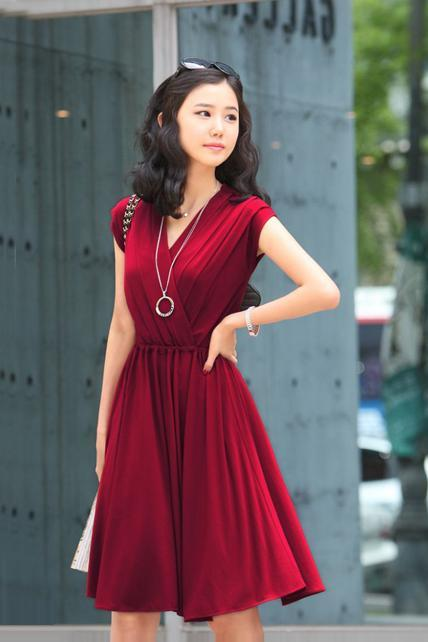 Charming V Neck Cap Sleeve Cotton Wrap Dress - Wine Red