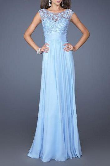 Elegant Sleeveless Lace Patchwork Maxi Chiffon Evening Dress - Blue