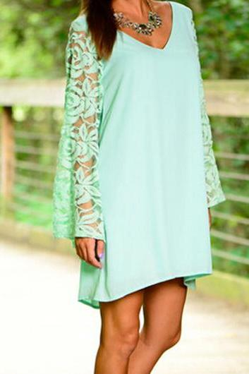 Women Fashion Flare Sleeve V Neck Mint Green Dress
