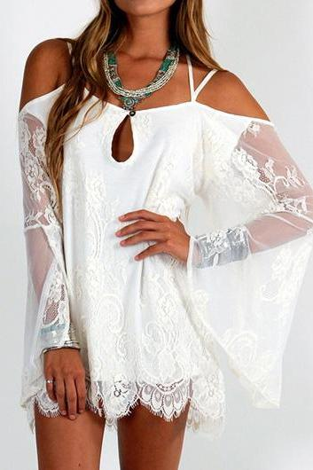 Criss Cross Back Batwing Sleeve White Lace Dress