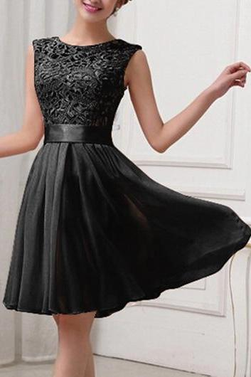 Fashion Lace Splicing Chiffon Knee Length Dress