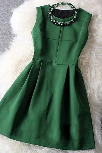 Fashion And High Quality Sleeveless Dress - Green