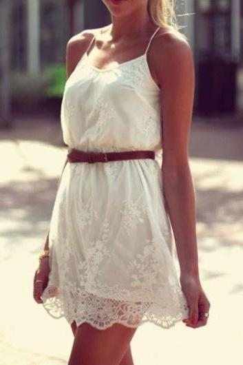 Charming Spaghetti Strap Design A Line Dress - White