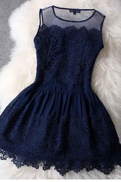 Fashion Hollow Out Hook Flower Lace Dress - Blue