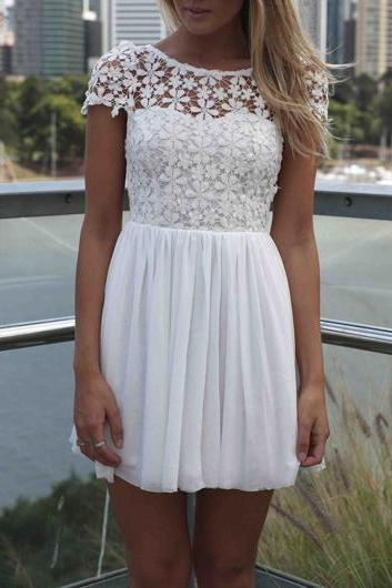 High Quality Round Neck Cap Sleeve Dress - White