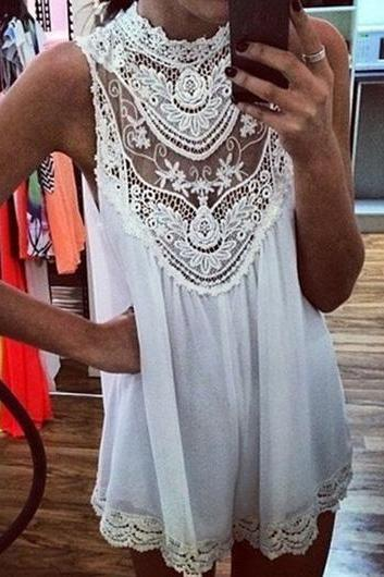 Fashion New Sleeveless Solid White Dress with Lace