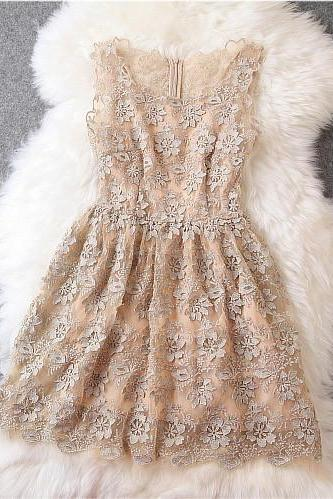 Luxury Beige Lace Dress