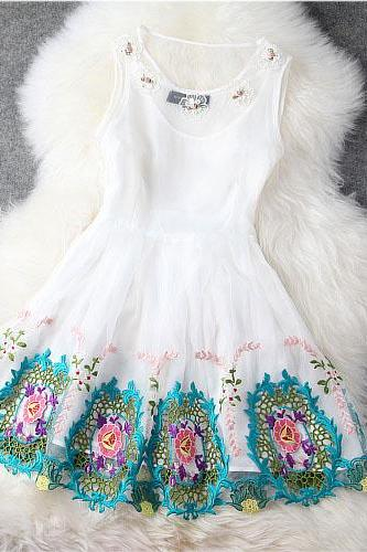 Designer Flower Gorgeous Embroidered Lace Dress