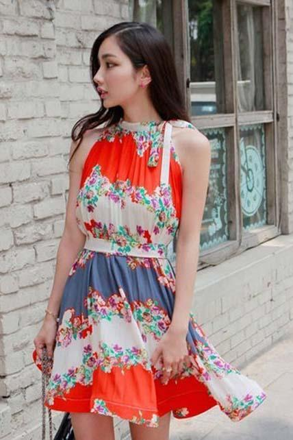 Fashion Sleeveless Red Printed Bohemia Dress for Girls