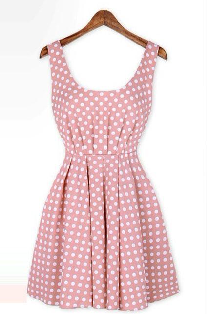 Vintage Polka Dot Pattern Scoop Shirred Waist Backless Dress