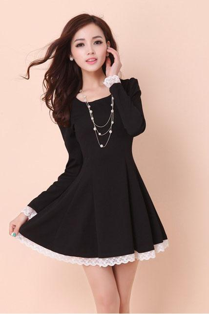 Lady A Line Long Sleeve Little Dress