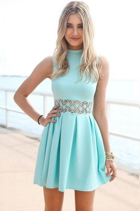 High Neck Homecoming Dresses,Cheap homecoming dresses 2017,Lace Blue A-Line Spandex Homecoming Dress