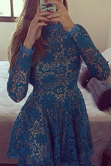 Lace Homecoming Dresses,Cheap homecoming dresses 2017,Long Sleeve Homecoming Dress,Lace Applique Homecoming Dresses