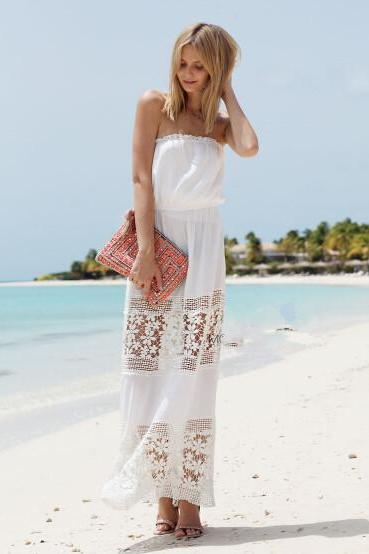 Lace Strapless Bohemian Pure Color Long Dress