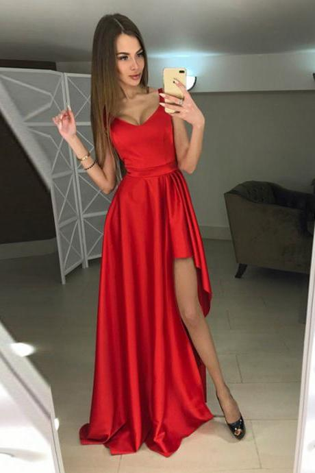 Cheap prom dresses 2017,Modern A-line Scoop Hi-Lo Red Sleeveless Prom Dress