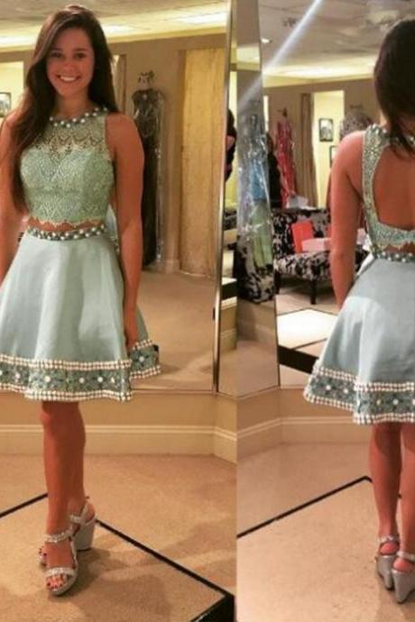 Two Piece Homecoming Dresses,Cheap homecoming dresses 2017,2017 Backless Lace Satin Short/Mini Jewel A-line