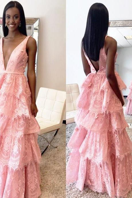 Cheap prom dresses 2017,Sexy Backless Low V neck Prom Dresses Tired Pink Lace Ruffled Skirt