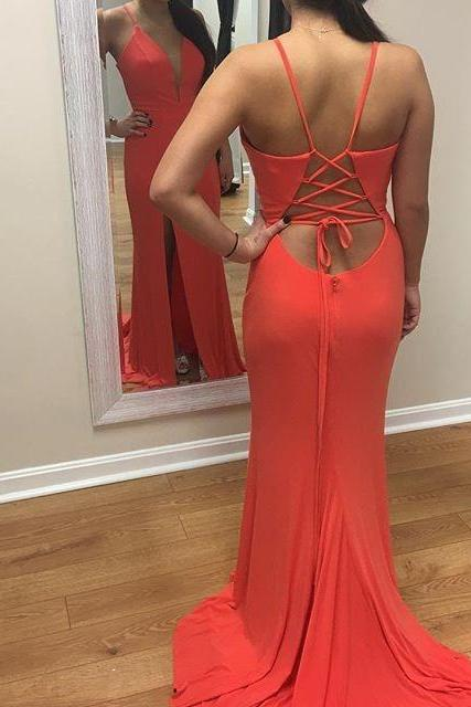 Charming Prom Dress, Sexy Prom Dresses, Chiffon Evening Dress, Side Slit Mermaid Evening Gowns